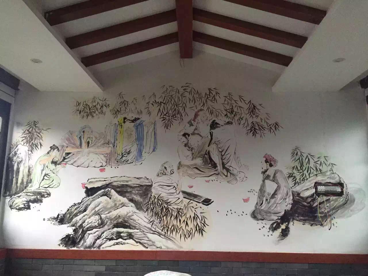 一些饭店常用手绘壁画作品欣赏!