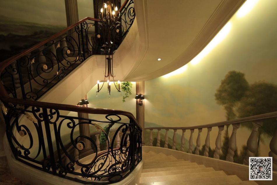 别墅手绘壁画_楼梯壁画【案例】