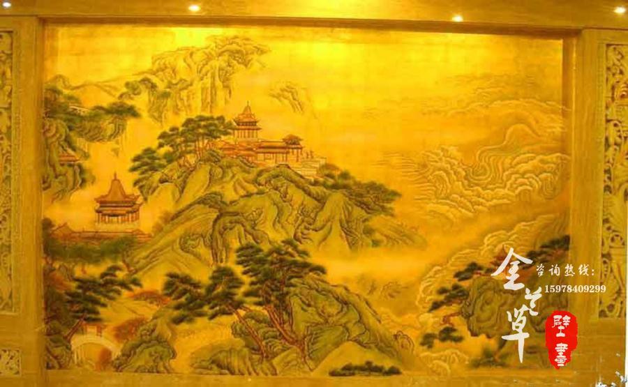 信阳饭店金箔壁画_大堂金箔壁画图片