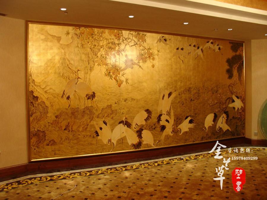 河南酒店壁画_河南酒店金箔画-金兰草手绘壁画公司