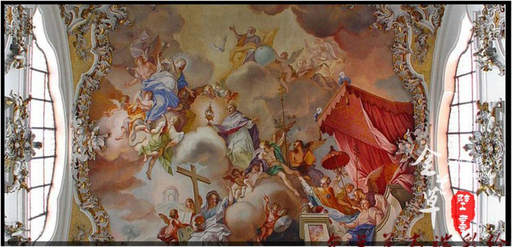 欧式别墅天顶壁画_欧式别墅油画